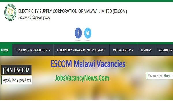 ESCOM Malawi Vacancies 2020 - Get Electricity Supply Corporation Jobs in Malawi