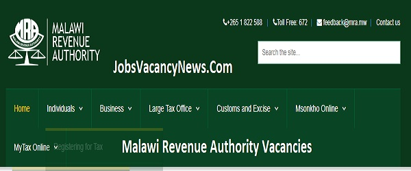 Malawi Revenue Authority Vacancies 2020 - Jobs in Malawi Revenue Authority