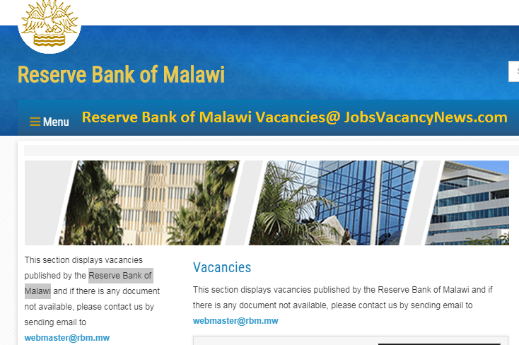 Reserve Bank of Malawi Vacancies 2020 - Get a Jobs in Malawi RBM