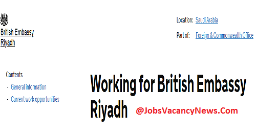 UK Embassy Riyadh Jobs - Apply for British Embassy Riyadh Jobs
